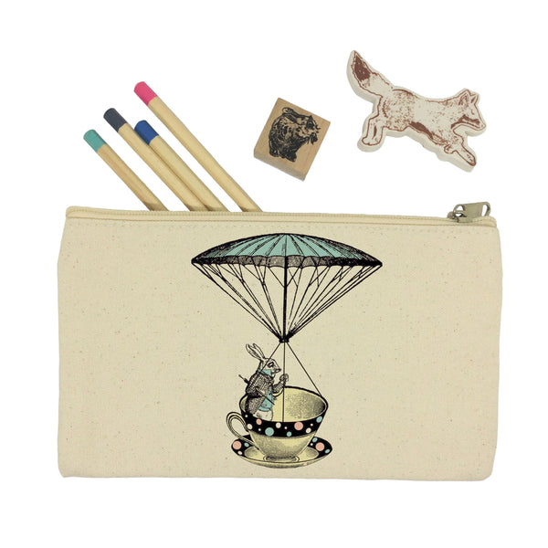 Alice in Wonderland, rabbit in a tea cup pencil case