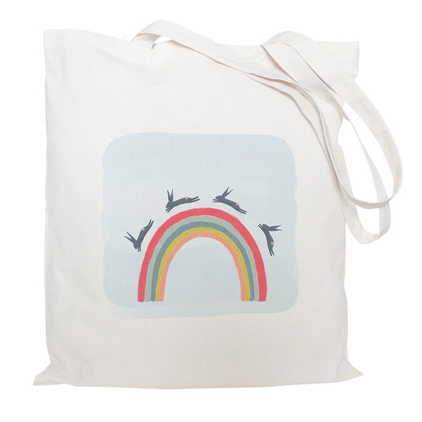 Rainbow and hares tote bag