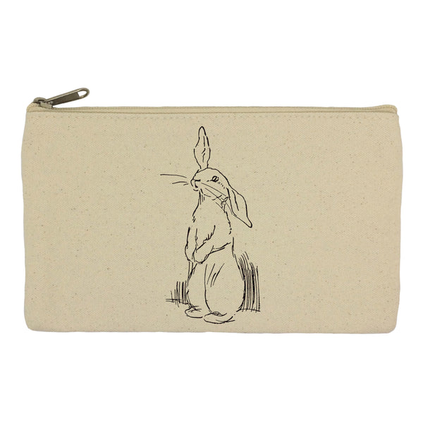 Sketched rabbit pencil case