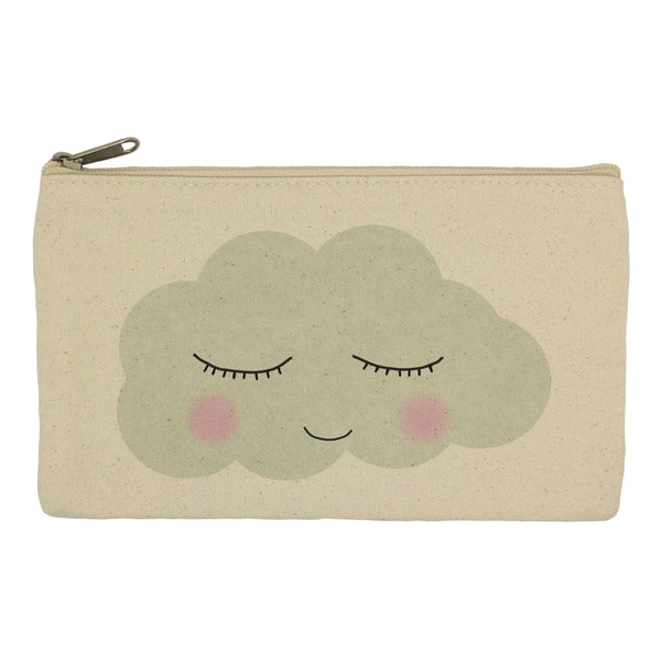 Sleepy cloud face pencil case