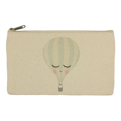 Sleepy face hot air balloon pencil case