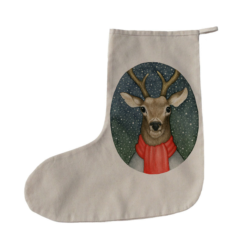 Stag in scarf Christmas stocking
