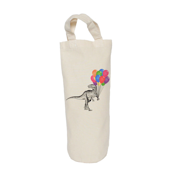 Dinosaur with balloons bottle bag
