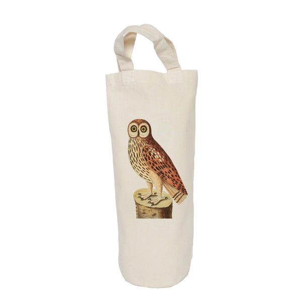 Owl on a log bottle bag
