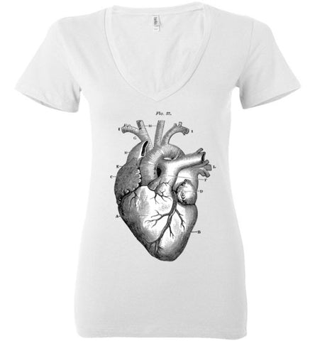 ANATOMICAL HEART WOMEN'S WHITE DEEP V-NECK AT WWW.VINTAGESTYLETEES.COM
