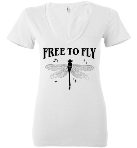 FREE TO FLY WOMEN'S WHITE DEEP V-NECK AT WWW.VINTAGESTYLETEES.COM