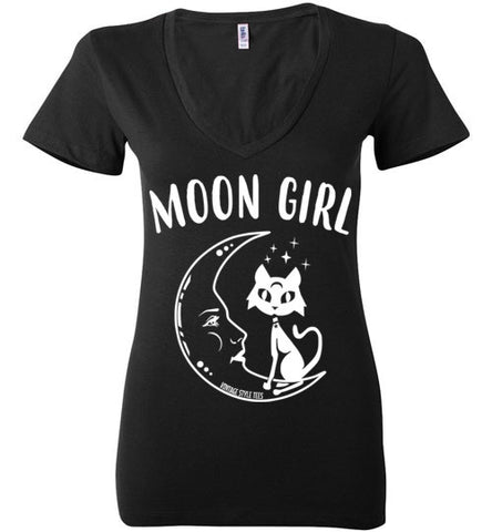 MOON GIRL WOMEN'S BLACK DEEP V-NECK AT WWW.VINTAGESTYLETEES.COM