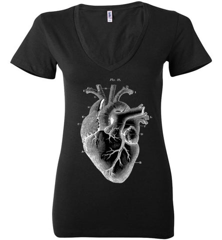 ANATOMICAL HEART WOMEN'S BLACK DEEP V-NECK AT WWW.VINTAGESTYLETEES.COM