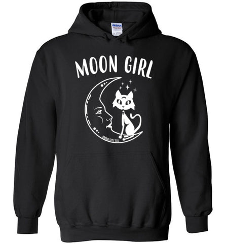 MOON GIRL MEN'S / UNISEX BLACK HOODIE