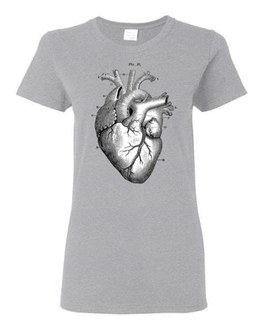 ANATOMICAL HEART WOMEN'S SPORT GREY T-SHIRT AT WWW.VINTAGESTYLETEES.COM