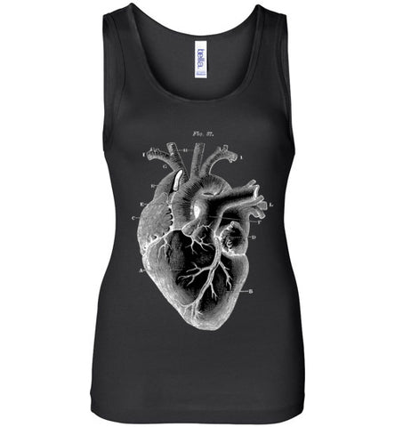 ANATOMICAL HEART WOMEN'S BLACK TANK TOP AT WWW.VINTAGESTYLETEES.COM