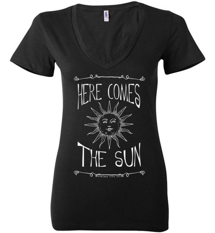 HERE COMES THE SUN WOMEN'S BLACK DEEP V-NECK AT WWW.VINTAGESTYLETEES.COM