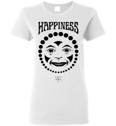 HAPPINESS CLOWN FACE WOMEN'S WHITE T-SHIRT AT WWW.VINTAGESTYLETEES.COM