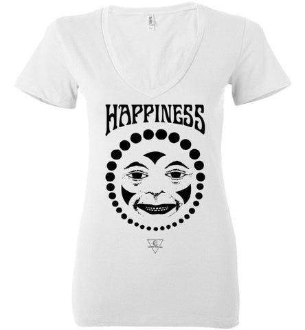 HAPPINESS CLOWN FACE WOMEN'S WHITE DEEP V-NECK AT WWW.VINTAGESTYLETEES.COM