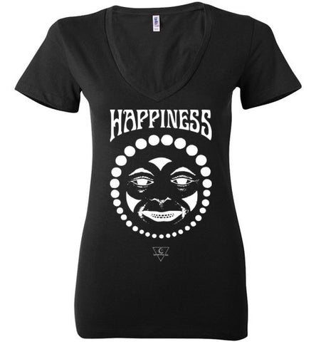 HAPPINESS COWN FACE WOMEN'S BLACK DEEP V-NECK AT WWW.VINTAGESTYLETEES.COM