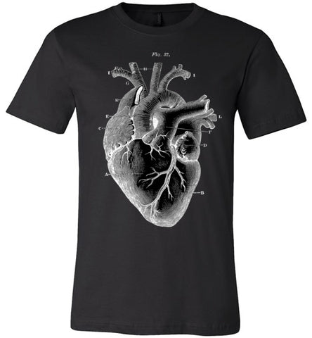 ANATOMICAL HEART MEN'S / UNISEX BLACK T-SHIRT AT WWW.VINTAGESTYLETEES.COM