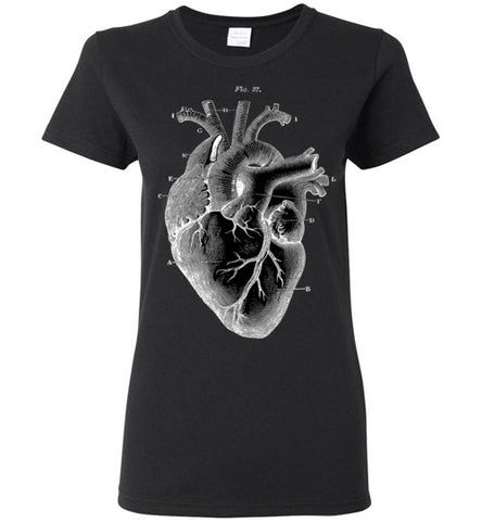 ANATOMICAL HEART WOMEN'S BLACK T-SHIRT AT WWW.VINTAGESTYLETEES.COM
