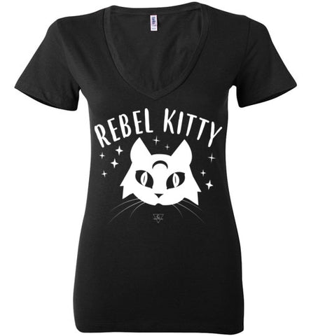 REBEL KITTY WOMEN'S BLACK DEEP V-NECK AT WWW.VINTAGESTYLETEES.COM
