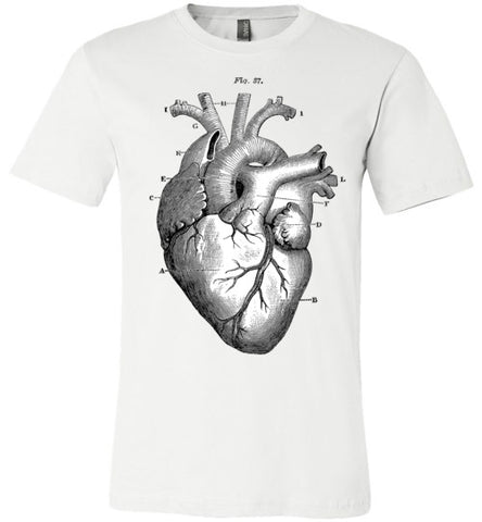ANATOMICAL HEART MEN'S / UNISEX WHITE T-SHIRT AT WWW.VINTAGESTYLETEES.COM