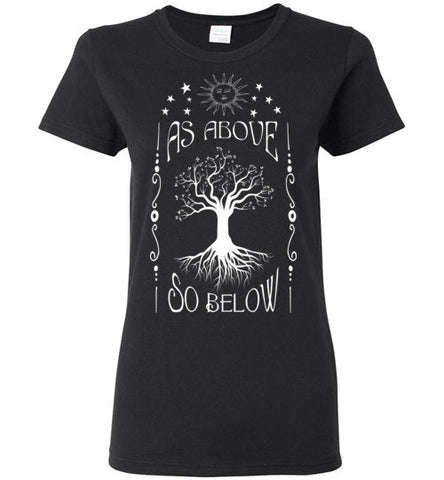 AS ABOVE SO BELOW WOMEN'S BLACK T-SHIRT AT WWW.VINTAGESTYLETEES.COM