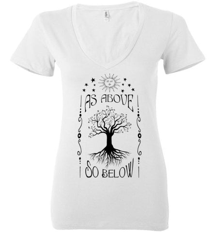 AS ABOVE SO BELOW WOMEN'S WHITE DEEP V-NECK
