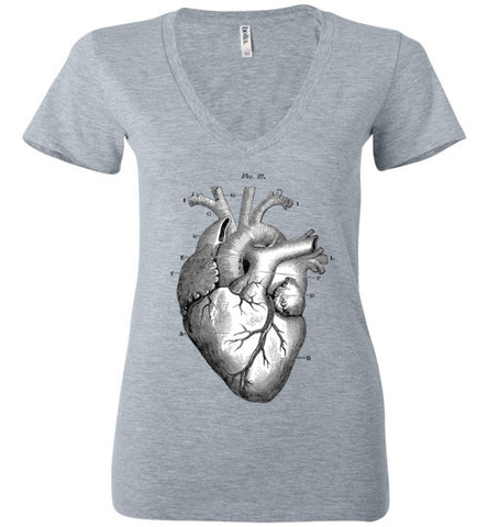 ANATOMICAL HEART WOMEN'S GREY DEEP V-NECK AT WWW.VINTAGESTYLETEES.COM
