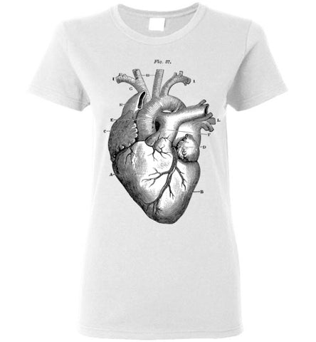 ANATOMICAL HEART WOMEN'S WHITE T-SHIRT AT WWW.VINTAGESTYLETEES.COM