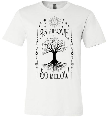 AS ABOVE SO BELOW MEN'S / UNISEX WHITE T-SHIRT AT WWW.VINTAGESTYLETEES.COM