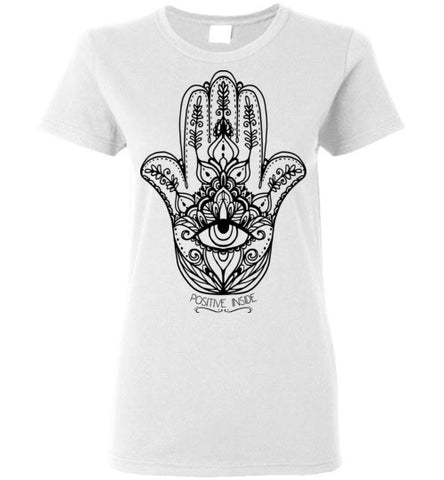 HAMSA POSITIVE INSIDE WOMEN'S WHITE T-SHIRT AT WWW.VINTAGESTYLETEES.COM
