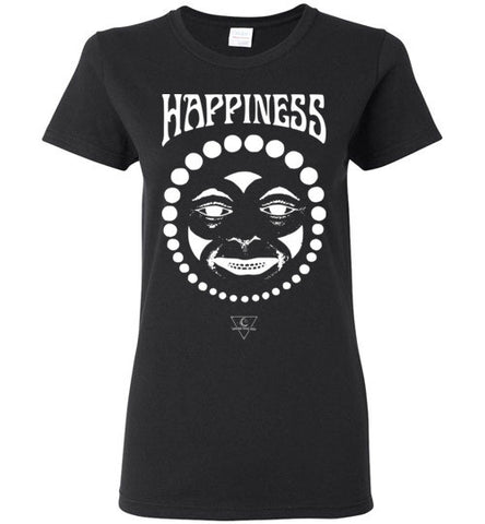 HAPPINESS CLOWN FACE WOMEN'S BLACK T-SHIRT AT WWW.VINTAGESTYLETEES.COM
