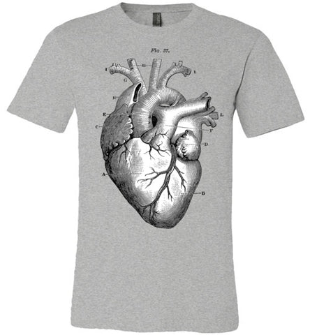 ANATOMICAL HEART MEN'S / UNISEX GREY T-SHIRT AT WWW.VINTAGESTYLETEES.COM