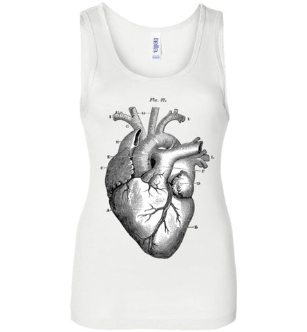 ANATOMICAL HEART WOMEN'S WHITE TANK TOP AT WWW.VINTAGESTYLETEES.COM