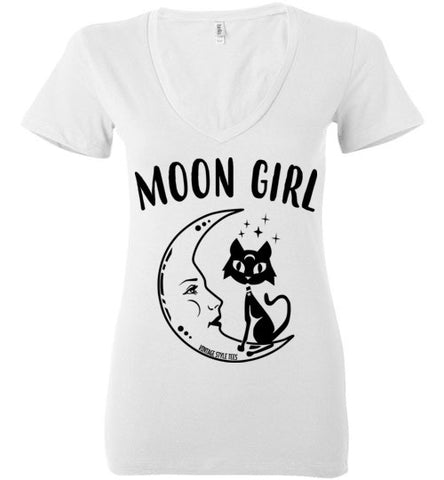 MOON GIRL WOMEN'S WHITE DEEP V-NECK AT WWW.VINTAGESTYLETEES.COM