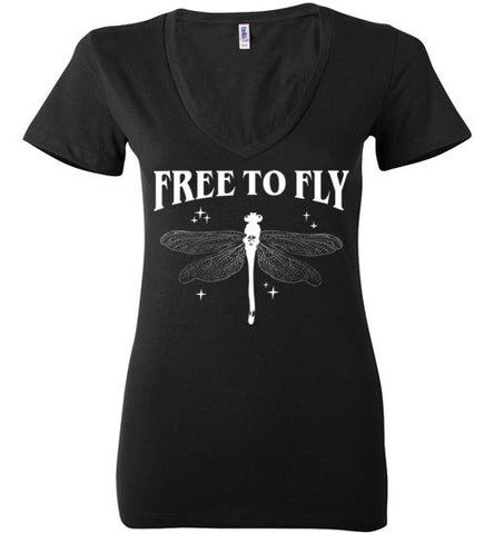 FREE TO FLY WOMEN'S BLACK DEEP V-NECK AT WWW.VINTAGESTYLETEES.COM