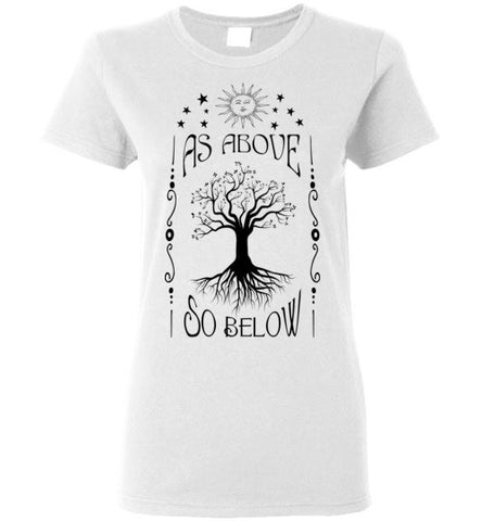 AS ABOVE SO BELOW WOMEN'S WHITE T-SHIRT AT WWW.VINTAGESTYLETEES.COM
