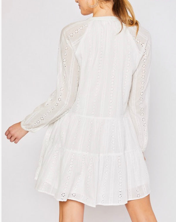 Angelica Long Sleeve Cotton Lace Eyelet Dress