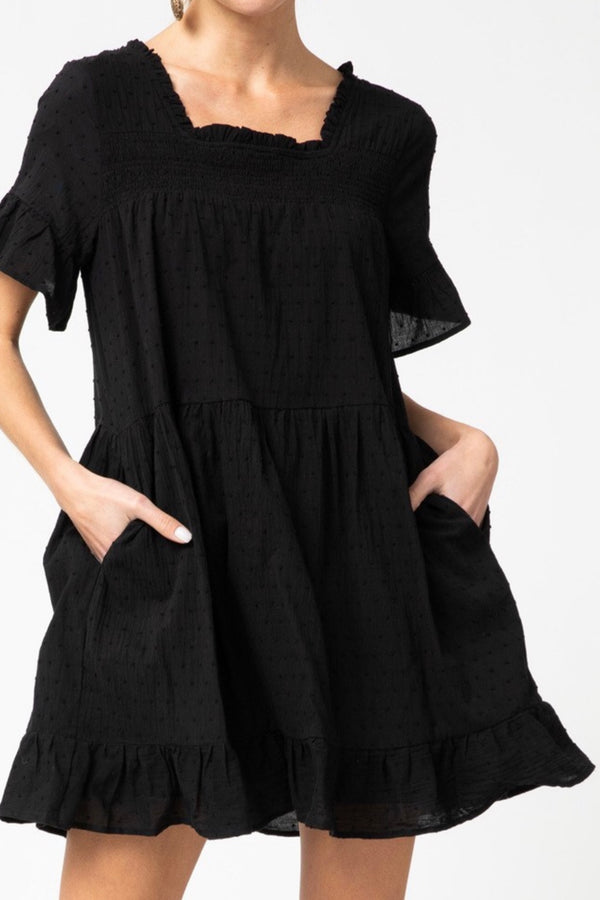 Liitle|black|dress|swiss dot|cotton|pockets