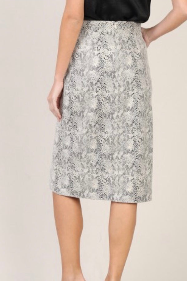 Ali Neutral Snake Skin Knee Length Pencil Skirt