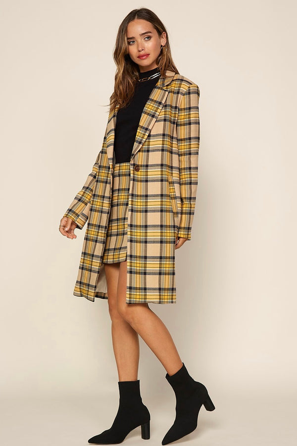 Mustard Plaid Long Blazer and Mini Skirt (Set)