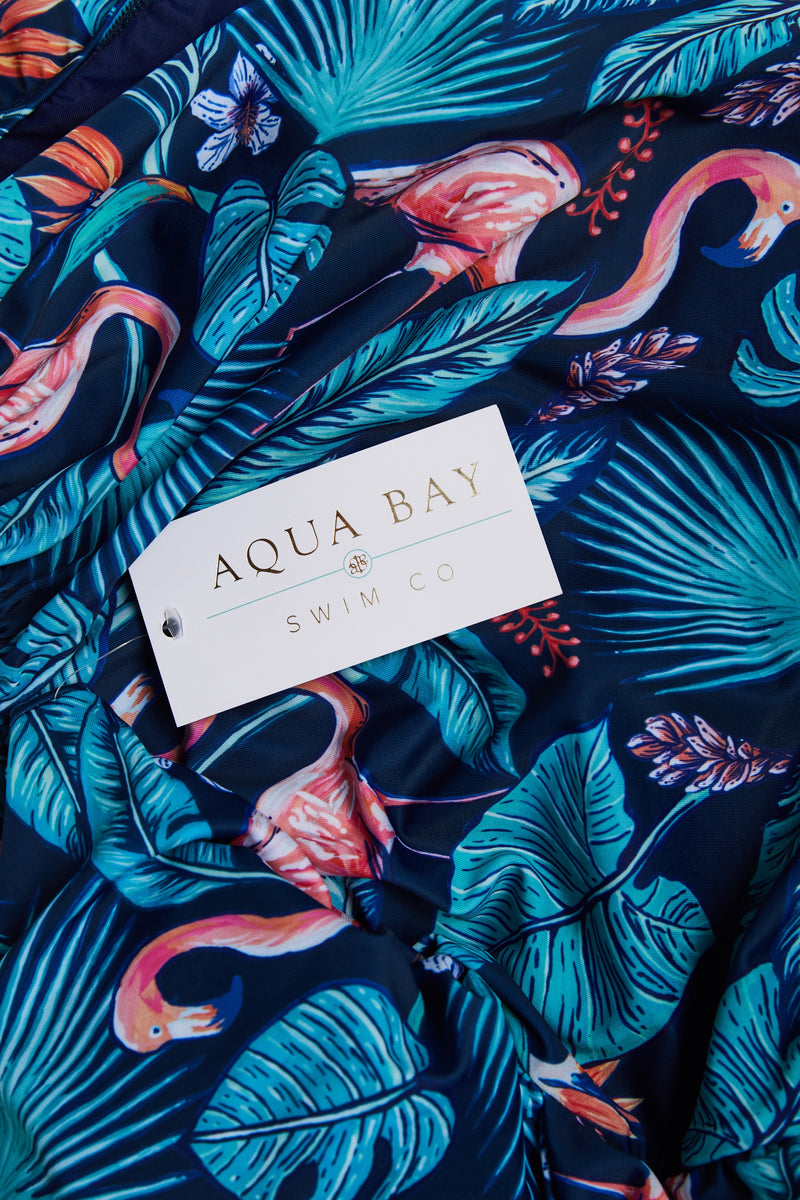 Aqua Bay Swim Co, comfortable, luxury, d cup, corset, style, lace-up, back, ruched, one piece, swimsuit, ruched, bum, tropics, print