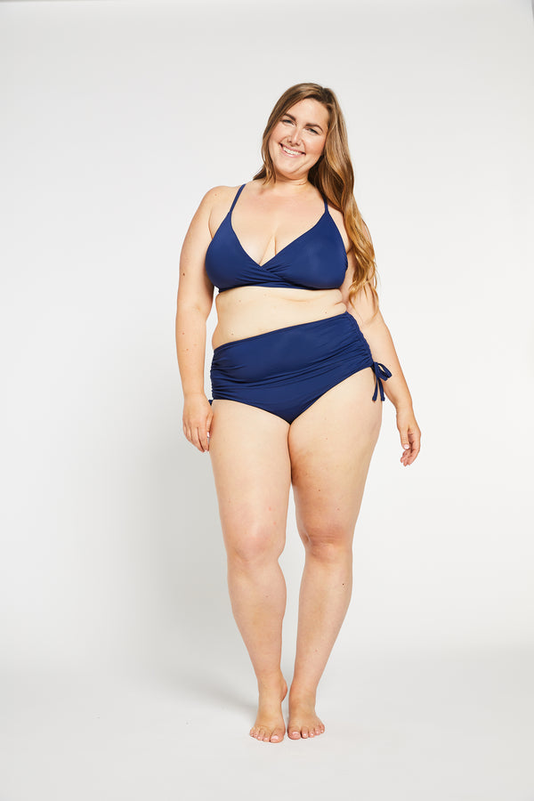 Aqua Bay Swim Co, comfortable, luxury, swimwear, high, waist, bikini, bottom, ruched, full, coverage,bum, ocean, navy