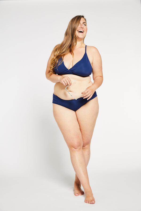 Aqua Bay Swim Co, comfortable, luxury, swimwear, bikini, bottom, pleated, side, full, coverage,bum, ocean, navy