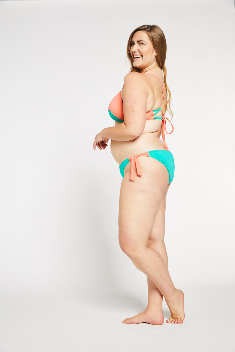 Aqua Bay Swim Co, swimwear canada, curvy bathing suits canada, side tie bikini bottoms, bikini bottoms canada, bikini bottoms, full coverage bikini bottoms in aqua