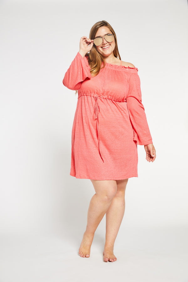 Aqua Bay Swim Co, luxurious, light, airy, soft, flowy, knit, linen, off, the, shoulder, knee, length, dress, swimsuit, cover-up, coral