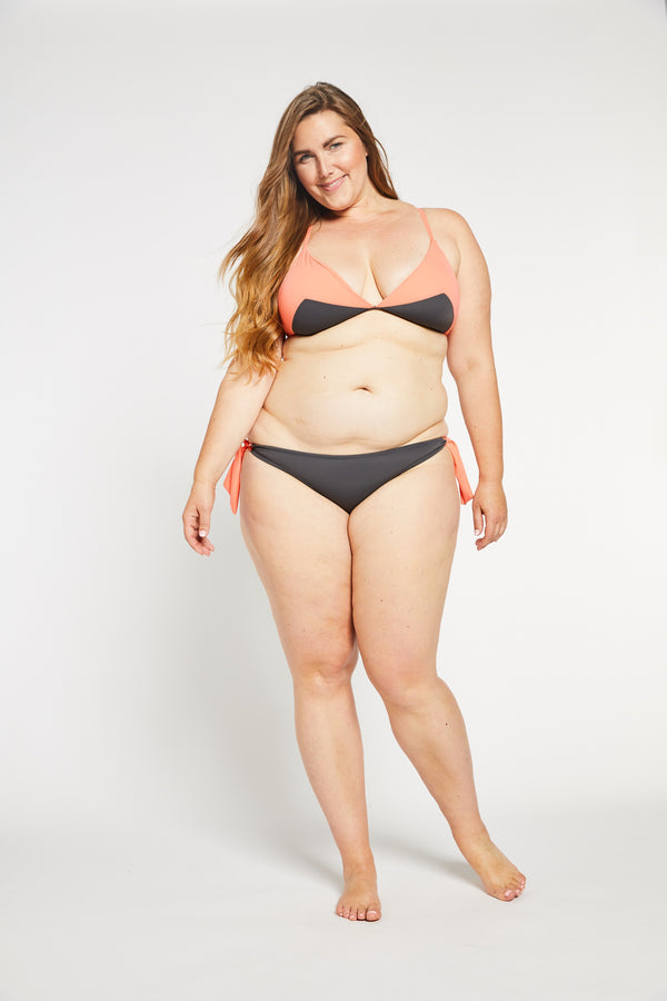 Aqua Bay Swim Co, plus size swimwear canada, bathing suits canada, side tie bikini bottoms canada, shop bikinis canada, grey bikini bottoms canada