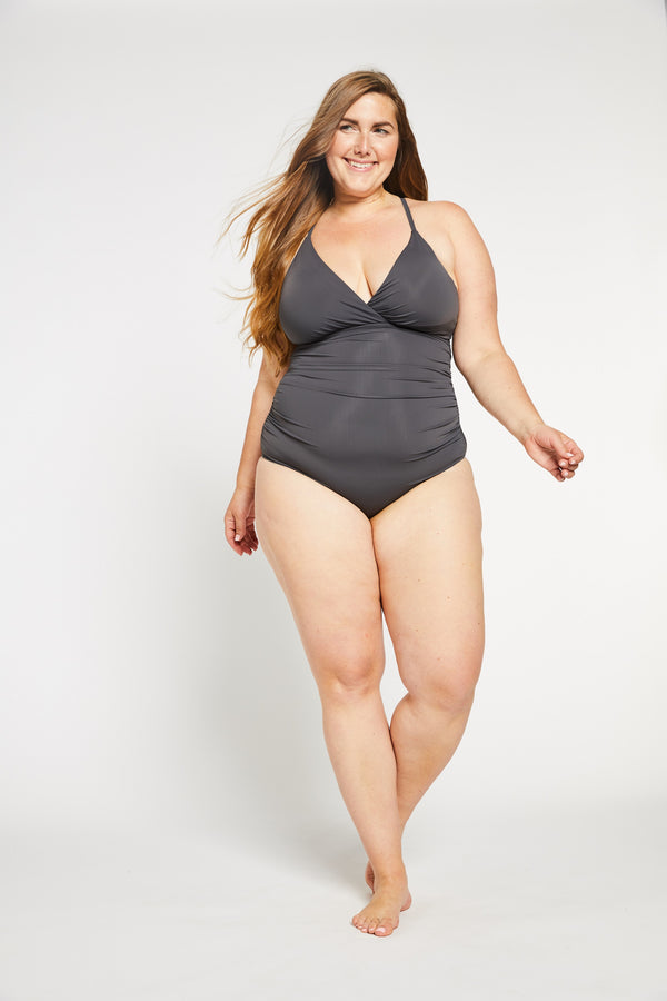 Aqua Bay Swim Co, corset style swimsuit in grey, grey one piece bathing suits canada, d cup swimwear canada