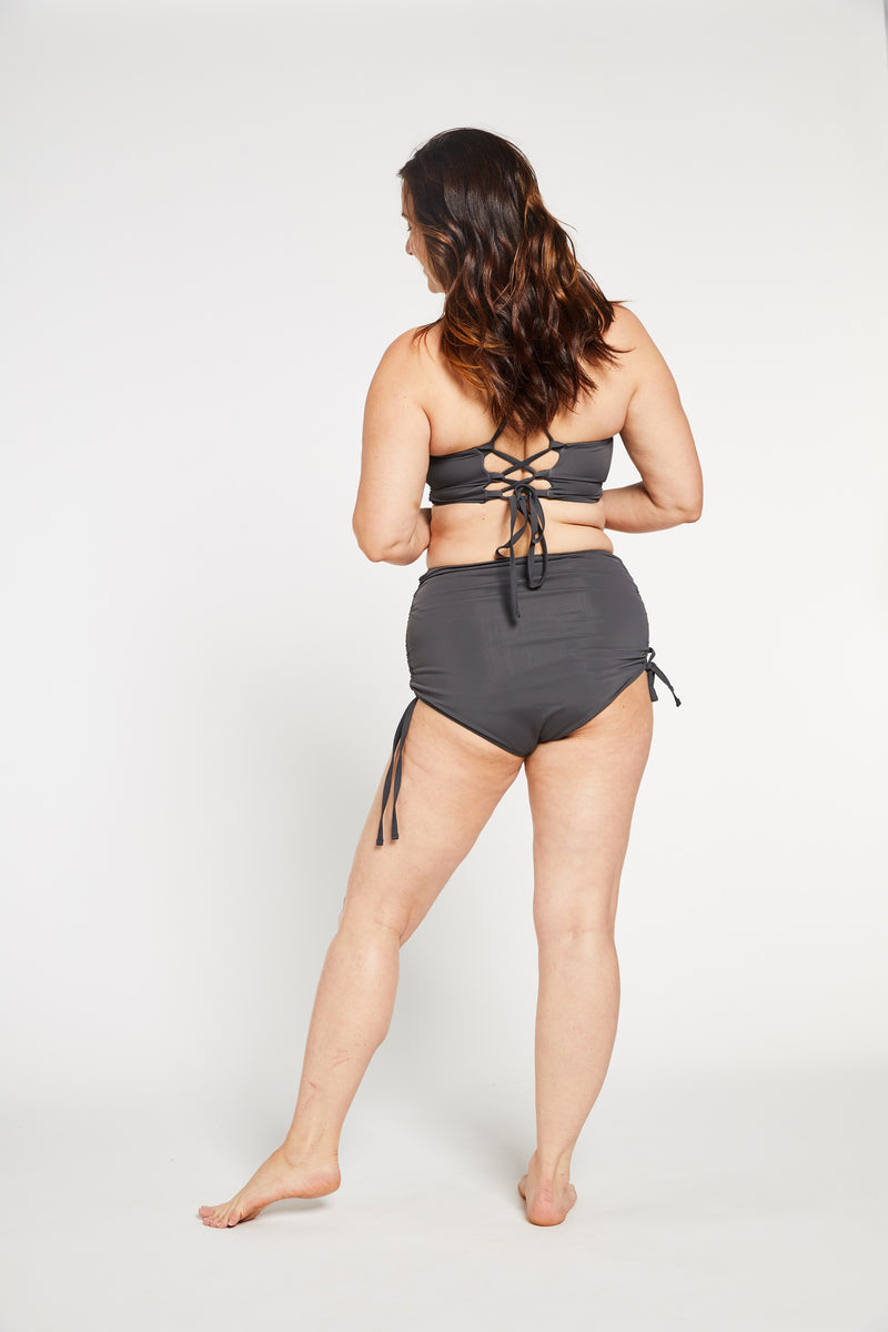 Aqua Bay Swim Co, comfortable, luxury, swimwear, high, waist, bikini, bottom, ruched, full, coverage,bum, stone, grey