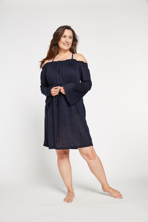 Aqua Bay Swim Co, luxurious, light, airy, soft, flowy, knit, linen, off, the, shoulder, knee, length, dress, swimsuit, cover-up, navyAqua Bay Swim Co, navy linen dress, swimwear cover up canada, off the shoulder dress, shop swimsuit cover-ups,  navy swimsuit cover up