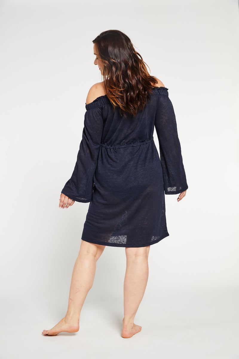 Aqua Bay Swim Co, linen dress, swimwear cover up canada,  off the shoulder dress in navy, shop swimsuit cover-ups,  swimsuit cover up