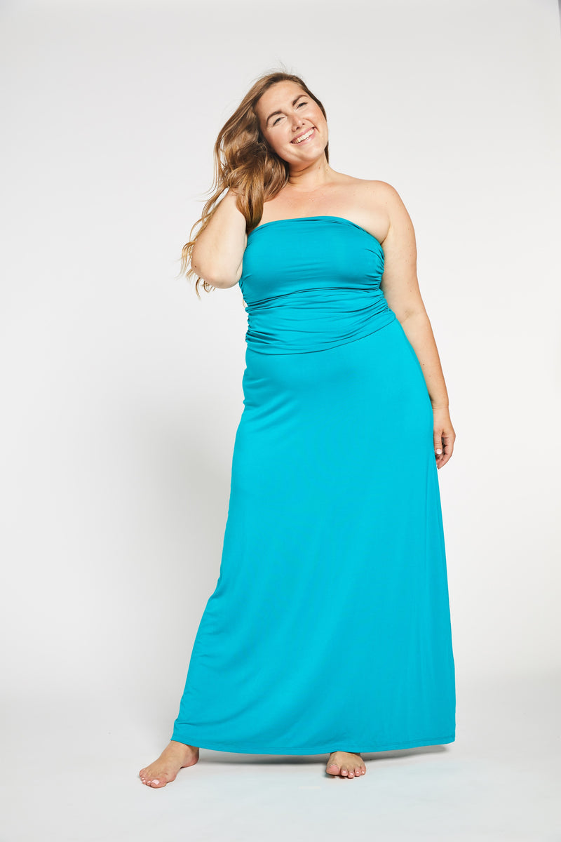Aqua Bay Swim Co, luxurious, soft, rayon, bamboo, convertible, strapless, maxi, dress, skirt, aqua